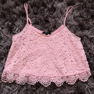 Pink lace crop tank top
